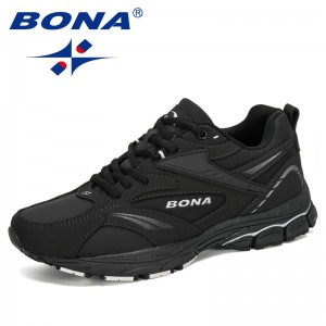 BONA 2020 Men New Designers Popular Cow Split Running Shoes Men Breathable Adult Male Shoes Trends Comfortable Outdoor Footwear