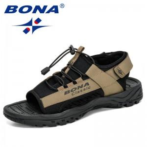 BONA 2020 New Designers Casual Roman Shoes Cow Split Mens Sandals Summer Comfortable Light Sandalias Man Sport Sandals Hombre
