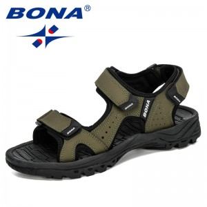 BONA 2020 New Designers Action Leather Shoes Slip-on Slippers Man Comfortable Trendy Beach Men Summer Sandal Zapatillas Hombre