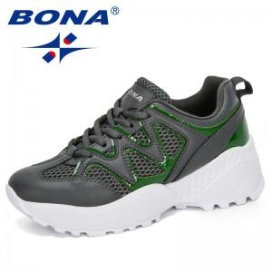 BONA 2020 New Designers Casual Sneakers Women Vulcanize Shoes Woman Platform Running Sport Sneakers Breathable Tennis Feminimo