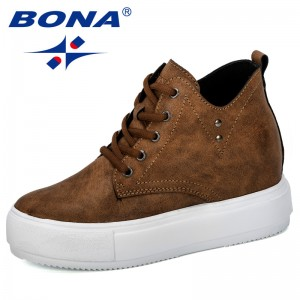BONA 2019 New Designers Popular High Top Boots Shoes Women Casual Shoes Platform Hidden Increasing Sneakers Shoes Ladies Trendy
