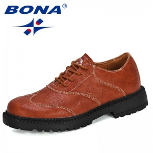 BONA 2020 New Designers Dress Shoes Men Business Flats Lace-Up Oxfords Comfortable Formal Footwear Man Outdoor Chaussure Homme