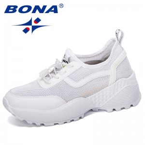 BONA 2019 New Desigers Casual Women's Platform Breathable Sneakers Women Fashion Mesh Shoes Women Vulcanize Shoes Comfortable