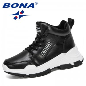 BONA 2020 New Designers Casual Shoes Women High Top Light Fashion Sneakers Woman Vulcanized Shoes Ladies Zapatillas Mujer Comfy