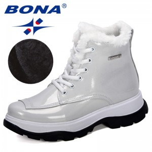 BONA 2019 New designers Popular British Leather Thick With Ankle Boots Women's Boots Motorcycle Boots Ladies Winter Plush Boots