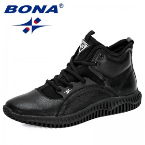 BONA 2019 New Designers Lace-Up High Top Outdoor Man Fashion Sneakers Autumn/Winter Flats Shoes Zapatillas Hombre Man Footwear