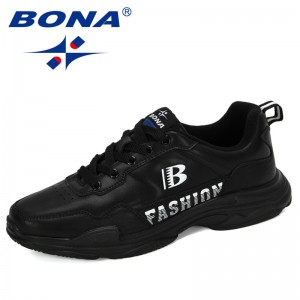 BONA 2019 New Designers Sneakers Men Lace-up Casual Shoes Platform Stylish Mixed Color Breathable Adult Male Tenis Footwear