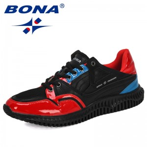 BONA 2019 New Designers Men's Shoes Comfortable Outdoor Casual Mens Shoes Lace-Up Cushion Sneakers Male Leisure Footwear Trendy