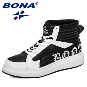 BONA 2019 New Designers High Top Men Sneake Non Slip Casual Shoes Man Breathable Outdoor Leisure Footwear Male Trendy Comfortabl