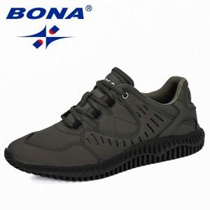 BONA 2019 New Designers Men Cow Split Casual Shoes Man Outdoor Walking Sneakers Tenis masculino Zapatillas Hombre Male Trendy