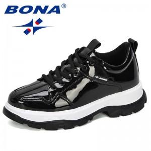 BONA 2020 New Designers Sneakers Casual Vulcanized Shoes Women Lace Up Lady Platform Comfort Plus Size Fashion Leisure Footwear