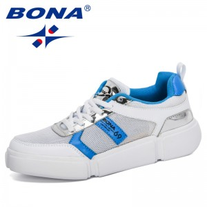 BONA 2020 New Designers Breathable Mesh Casual Shoes Women Fashion Sneakers Ladies Lace Up High Leisure Vulcanize Shoes Platform