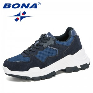 BONA 2020 New Designers Mesh Casual Shoes Women Fashion Sneakers Lace Up High Leisure Women Vulcanize Shoes Platform Ladies