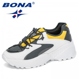 BONA 2020 New Designers Casual Shoes Woman Breathable Flats Sneakers Female Platform Chaussure Femme Reflective Leisure Footwear