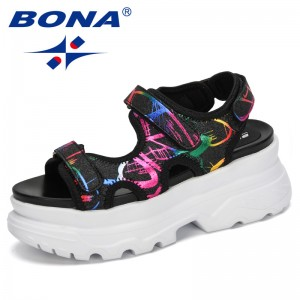 BONA 2020 New Designers Sport Sandals Women Wedge Hollow Out Sandals Outdoor Platform Shoes Woman Beach Summer Shoes Feminimo
