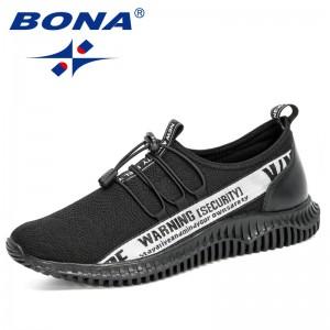 BONA 2020 New Designers Light Sneakers Men Breathable Jogging Shoes Man Rubber Tenis Masculino Adulto Mesh Footwear Male Trendy