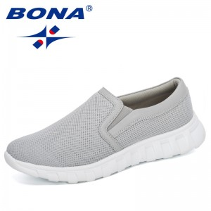 BONA 2020 New Arrival Popular Casual Shoes Men Mesh Flat Shoes Man Slip-On Low Top Sneakers Outdoor Breathable Tenis Masculino