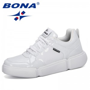BONA 2020 New Style Vulcanize Flats Sneakers Platform Women Shoes Breathable Casual Lace Up Shoes Woman Outdoor Flatform Shoes