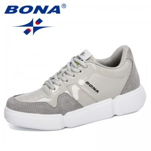 BONA 2020 New Designers Popular Platform Sneakers Women Lace-Up Shoes High Top Chunky Casual Shoes Woman Thick Bottom Footwear