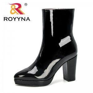 ROYYNA 2019 New Designers Boots Women Pointed Toe High Heel Boots Mirror Metallic Women Pumps Female Sexy Stiletto Boots Trendy