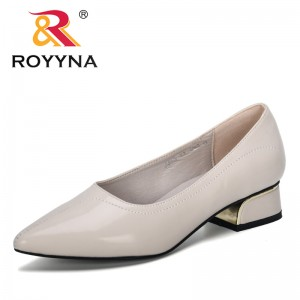 ROYYNA 2019 New Stylish Pointed Toe Square Heel Ladies Pumps Casual Solid Shallow Shoes WomanBasic Slip-On Heels Women Pumps