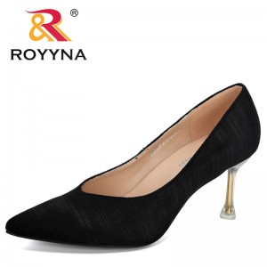 ROYYNA 2019 New Designers High Heels Shoes Women Solid Flock Shallow Female Office Shoes Pointed Toe Fashion Women Pumps Trendy