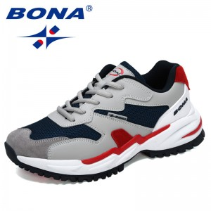 BONA 2021 new Designers Action Leather Men Running Shoes High Quality Platform Chunky Sport Shoes Man Outdoors Walking Shoes
