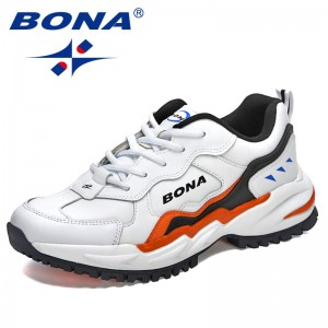 BONA 2021 New Designers Action Leather Chunky Sneakers Men Street Style Running Shoes Man Jogging Walking Footwear Mansculino