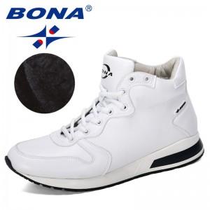 BONA 2019 New Designers Classics Ankle Boots Men Short Plush Popular Outdoor Shoes Man High Top Winter Boots Male Comfy Trendy