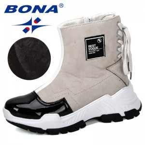 BONA 2019 New Designers Fashion Casual Ladies Shoes Boots Leather Boots Thick Heeled Snow Shoes Femme Ladies Shoes Comfortable