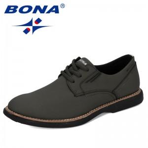 BONA 2020 New Designers Cow Split Fashion Shoes Men Casual Shoes Man Trend Solid Outdoor Flats Wear-Resistant Leisure Footwear