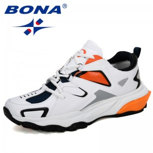 BONA 2019 Action Leather Outdoor Running Shoes Men Mountain Athletic Shoes Non-Slip Sole Large Size Man Casual Sneakers Trendy