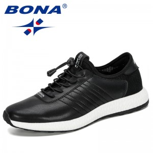 BONA 2019 New Designers Popular Men Casual Shoes Outdoor Sneakers Comfortable Flat Male Fashion Walking Shoes Man Leisure Shoes
