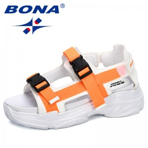 BONA 2020 New Designers Women Sandals Soft Flat Slip On Female Casual Shoes Girl Sandals Hollow Flats Beach Footwear Comfortable
