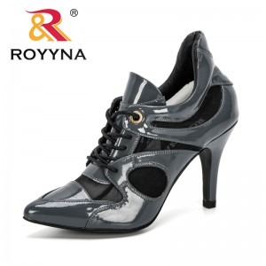 ROYYNA 2020 New Designers Fashion Women High Heels Summer Platform Pumps Sexy Mesh Shoes Woman Lace Up High Heels Comfy Footwear