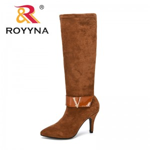 ROYYNA 2019 New Designers Fashion Over-the-knee Boots Women Flock Boots Woman Shoes High Heels Knee-high Zippers Boots Ladies