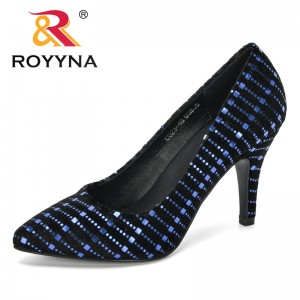 ROYYNA 2019 New Designers Lady Flock Shiny Metal High Heels Autumn Pointed Single Shoes Women Wedding Female Sandals Comfortable