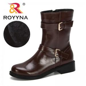 ROYYNA 2019 New Designers Boots Women Microfiber Mid Calf Short Plush Winter Warm Snow Boots Women Boots Botas Mujer Comfortable