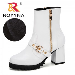 ROYYNA 2019 New Designers Women Ankle Boots Winter Warm Shoes Botas Feminina Female Motorcycle Mid-Calf Boots Ladies Botas Mujer
