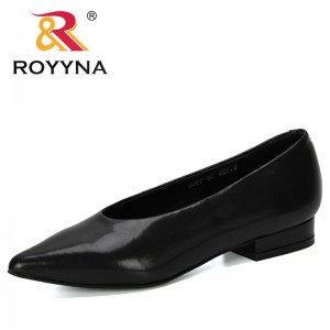 ROYYNA 2019 New Designer Dress Shoes Woman Microfiber Pointed Toe Pumps Lower Heeled Boat Shoes Ladies Zapatos Mujer Comfortable