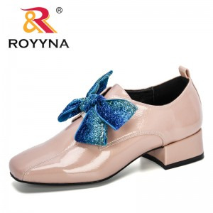 ROYYNA 2019 New Designers Fashion Shoes Women Casual Square Toe Loafers Work Shoes Ladies Lady Walking Party Pumps Comfortable