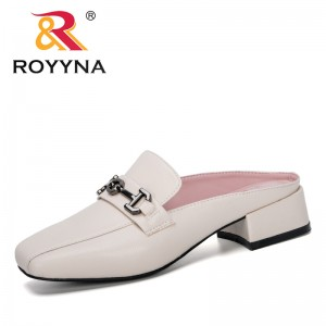 ROYYNA 2020 New Designers Popular Flat Shoes Fashion Mules Women Square Toe Slip On Sandalias Woman Slipper Summer Sandals Comfy