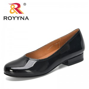 ROYYNA 2019 New Designers Microfiber Women Shoes Round Toe Pumps Shallow Lower Heels Slip On Female Casual Ladies Shoes Trendy