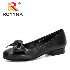 ROYYNA 2020 New Designers Bowknot Pumps Lower Heels Shoes Woman Shallow Wedding Work Dress Shoes Ladies Zapatos Mujer Trendy