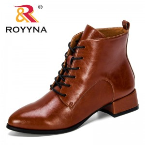 ROYYNA 2019 New Designer Popular Style Microfiber Spring Autumn Ankle Boots Women Ankle Boots Lace Up Ladies Worker Boots Trendy