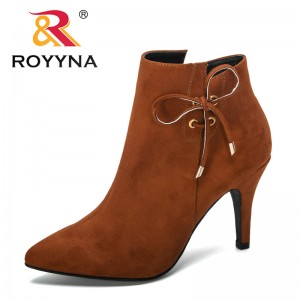ROYYNA 2019 New Designers Fashion Style Autumn Winter Short Boots Women High Heel Flock Boots Women Outdoor Ankle Boots Trendy
