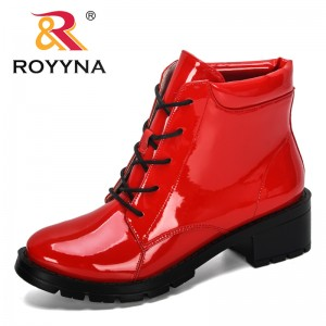 ROYYNA 2019 New Style Motorcycle Boots Women Autumn Round Toe Lace-Up Boots Feminimo Street Outdoor Style Girls High Tube Boots