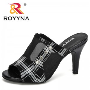 ROYYNA 2020 New Designers Gauze New Slippers Summer Flat Shoes Woman Slip On Slides Style Female Sandals Girls Trendy Comfy