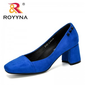 ROYYNA 2020 New Designers Flock British Women's Shoes High Heels Slip-On Shallow Woman Pumps Working Shoes Feminimo Comfortable