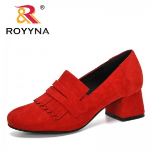 ROYYNA 2020 New Designers Flock High Heels Fashion Casual Round Toe Shoes Women Dress Pumps Office Working Shoes Ladies Trendy